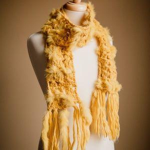 Tuscan Yellow Crochet Tassel Scarf w/ Real Rabbit